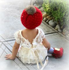 Anna Girls Cream Vintage Lace Cross Back Romper - Baby Girl Romper - Fall Romper - Birthday Romper - Shabby Chic Baby Romper - Ruffles & Bowties Bowtique - 1