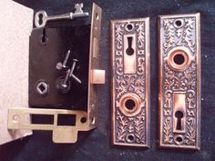 antique victorian Eastlake indoor lock and plate set FREE SHIP  $50.00 OBO