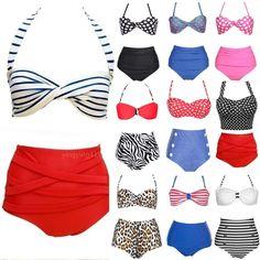 11e77fd407 UK Beach Style Vintage High Waist Halterneck Top Bikini Set padded Swimwear  #BeachStyleVintageHighWaistHalterneckBikiniSet #paddedSwimwear