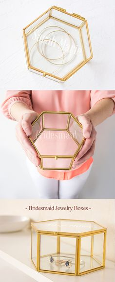 Gold Rim Personalized Bridesmaid Jewelry Box is a practical and useful gift for your bridesmaids.