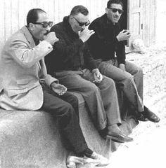 From the left to the right , Anwar Sadat , gamal abdel nassar , abdel hakim amer .