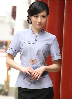 Traditional Chinese top - Classic Chinese Cheongsam top: Purple Lotus Pond $69.00 (51,98 €)