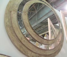 Kavalla Mirror - bliss studio - natural wood, antiqued mirror, brass studs