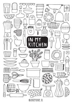In my kitchen doodle bullet journal inspiration Food Doodles, Bujo Doodles, Doodle Inspiration, Bullet Journal Inspiration, Style Inspiration, Doodle Drawings, Easy Drawings, Easy Doodle Art, Sketch Notes