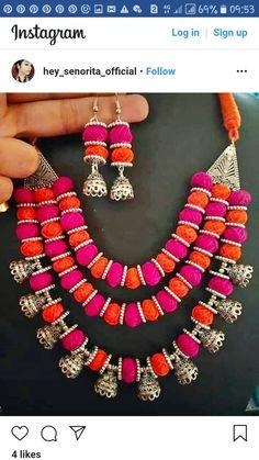 Thread Jewellery, Fabric Jewelry, Handmade Jewelry Designs, Handcrafted Jewelry, Hammocks, Silk Thread, Diy Earrings, Jewelry Patterns, Jewelry Crafts