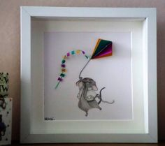 Nursery Wall Art. Baby's Bedroom.  Little mouse flying kite.  3D Paper Quilled Art. Made to Order in choice of colours.  FREE UK SHIPPING.