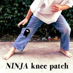 Adding Knee Patches to pants is a great way to extend the life of pants. The patches don't have to be just functional, you can make them super creative. Diy Clothing, Sewing Clothes, Patch Pants, Patchwork Jeans, Torn Jeans, Toddler Fun, Sewing For Kids, Refashion, Boy Outfits