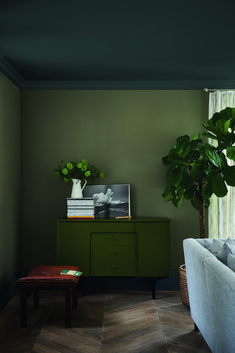 Find harmony and balance with a collection of green interior inspiration, from forest green walls to mint accessories Olive Living Rooms, Living Room Green, Bedroom Green, Green Rooms, Living Room Paint, Living Room Colors, My Living Room, Living Room Decor, Farrow And Ball Living Room
