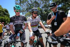 Sam Bennett and Peter Sagan after stage 1 at the Tour Down Under