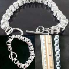 """$5.50 -BRACELET STERLING SILVER CHAINMAIL STYLE   ------ type """"SOLD"""" in comments to reserve it ... You do not have to pay until you are done shopping from now until Christmas. Message me when you are ready or if you want any other information about this item #Bracelet #sterling #chain"""