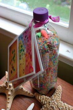 RAINBOW RICE EYE SPY BOTTLES...Perfect for Long Car Trips or Just Keeping Your Kids Distracted! =]