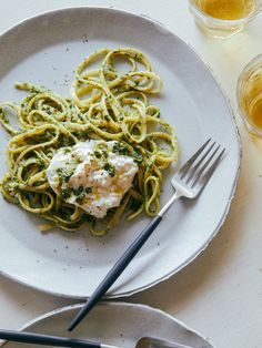 Burrata Topped English Pea, Basil Pistachio Pesto with Linguine