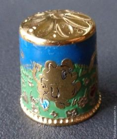 Купить Авторский наперсток ручной работы сувенир в подарок Винни Пух - зеленый, гравюра