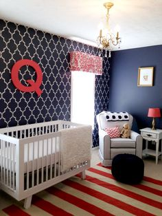 War Eagle - Navy, Coral and White Nursery - change coral to orange or red for patriotic