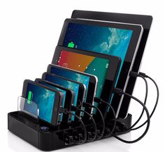 EU Plug USB Charging Station black 7-Port 64.89W USB Charger for Multiple Android Apple devices