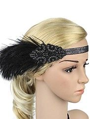 The+Great+Gatsby+Headband+1920s+Black+White+Brown+Golden+Feather+Cosplay+Accessories+Masquerade+–+CZK+Kč+15+648