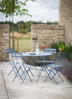 Our Bistro Set in Dorset Blue lets you enjoy Parisian style in your own garden