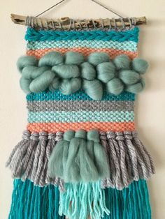 Weave Loom Wall Hanging Woven Pastels Tassels Weaving Textiles, Tapestry Weaving, Loom Weaving, Hand Weaving, Sewing Art, Sewing Crafts, Weaving Wall Hanging, Weaving Projects, Macrame Patterns