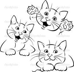 Векторный кот игра - черный контур иллюстрации на белом фоне
