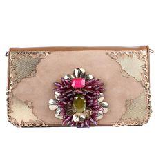 Stunning vintage Khaki clutch with flower. #Rada #boomandmellow #vintage #jewellery #necklace #neckpiece #bracelet #ring #earring #headpiece #headband #jewels #accessories #accessory #artistic #funky #cool #pretty #french #handbag #purse #clutch #bag