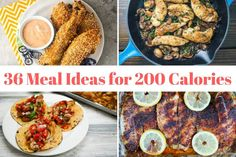 Healthy Dinner Recipes Under 200 Calories Pan - thirty six recipes for 200 calorie meals - slender kitchen 200 Calorie Lunches, 300 Calorie Dinner, Low Calorie Meal Plans, Healthy Low Calorie Meals, Low Calorie Dinners, No Calorie Foods, Healthy Dinner Recipes, Meal Recipes, Recipies