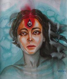 Durga Maa Paintings, Durga Painting, Indian Art Paintings, Artist Painting, Contemporary Paintings, Watercolor Paintings, Oil Paintings, Watercolors, Black Paper Drawing