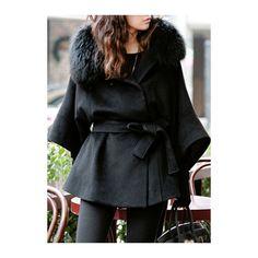 Rotita Black Hooded Coat