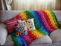 Rainbow-ey goodness.  I need an afghan!