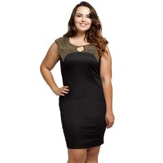 "Black bodycon dress with gold studs NWT. Show off your figure in an elegant way with this bodycon dress that features super chic gold-tone studs and hardware, a stretchy fabric to hug your curves perfectly, and a back zipper for ease of wear.   Size Guide:  1X: 10-12W, 32-35"" waist, 40-43"" hip, 38-41"" Bust.  2X: 14-16W, 34-37"" waist, 43-47"" hip, 41-44"" Bust.  3X: 18-20W, 38-41"" waist, 47-50"" hip, 45-48"" Bust.   90% Polyester, 10% Spandex. Made in USA. Dresses Mini"
