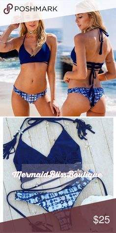 TOPS - Boho Strappy Woven Wrap Brazilian Bikini NWOT Boho Navy Blue Woven Braided Tassel Fridge Strappy Wrapped Criss Cross Halter Brazilian String Bikini TOP. (The bottoms are in a separate listing). **These are true to JUNIOR'S sizes, so the SMALL is equivalent to a women's xs, the MEDIUM is equivalent to a women's small, and the LARGE is equivalent to a women's medium!!** Price Firm! No Trades! No modeling Swim Bikinis