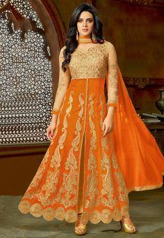 Net and Art Silk Front Slit Anarkali Suit in Orange Churidar, Salwar Kameez, Silk Anarkali Suits, Allah, Most Beautiful, Fashion Dresses, Sari, Orange, How To Wear
