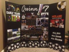 I made this Tri-fold board for a soccer HS senior night banquet. Pictures of early yrs, club, HS and signing day to play at the next level. Senior Softball, Senior Day, Volleyball Signs, Volleyball Chants, Volleyball Party, Volleyball Mom, Cheerleading, Graduation Picture Boards, Graduation Pictures