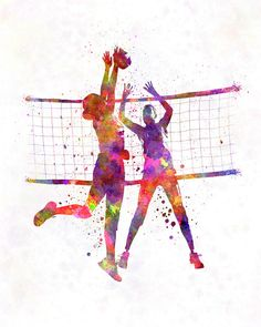 Women volleyball players in watercolor – Fine Art Print Glicee Poster Home Watercolor sports Gift Room Illustration Wall – SKU 2315 You can select the print quantity, size and finish of the print on the menu below the price. Beach Volleyball, Volleyball Workouts, Volleyball Quotes, Volleyball Pictures, Women Volleyball, Volleyball Players, Volleyball Setter, Volleyball Outfits, Coaching Volleyball