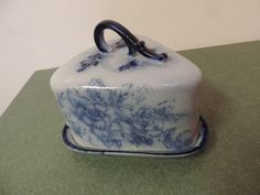 Antique Flow Blue Covered Cheese Dish Ironstone Stafforshire England Circa 1900