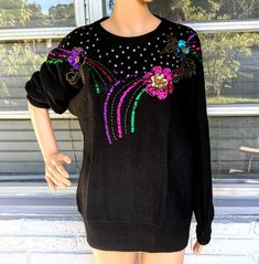 Excited to share this item from my #etsy shop: M 80s Bedazzled Sequined and Beaded Sweater by Vis A Vis Tunic Length Glam Jumper Floral Starburst Vintage Flower Power Holiday Bling Boho
