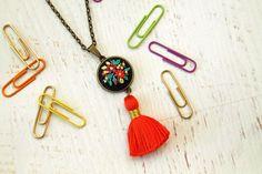 Bright Orange Tassel Hand Embroidered Necklace Pendant