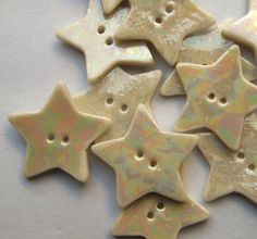5 Pearly Porcelain Star Buttons  Gift for by melissaceramics, £10.00  #buttons #handmade #pearl