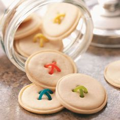 Crisp Button Cookies Recipe from Taste of Home -- These clever cookies take minutes to make! -- Bonnie Buckley - Kansas City, Missouri