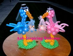 Cute balloon stork centerpieces