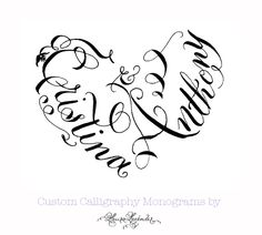 how to make a monogram into the shape of a heart - Google Search