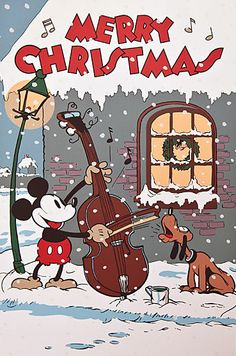 Merry Christmas from Mickey & Pluto! - (vintage Christmas, days gone by…
