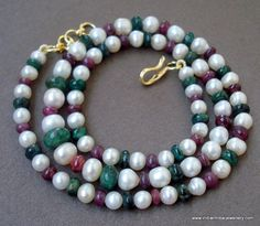 90 ct ethnic pearl ruby emerald gemstone beads necklace