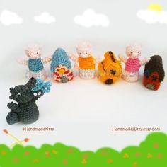 three little pigs - crochet finger puppets pattern