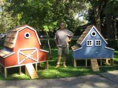 The most adorable chicken coops I've ever seen! Someday, when we actually have a place of our own and have chickens, they will live in cute homes like these. :)