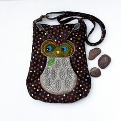 """Owl Small Quilted and Embroidered Shoulder Bag Cross Body Fabric Purse """"Tihana"""" in multi dotted brown fabric with silver"""