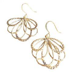 Fan of Feathers Gold Earrings.