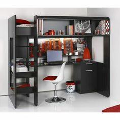 TECH-HI - TECH-HI Lit mezzanine 90 x 200 cm, bureau + rangements, bois, noir brillant