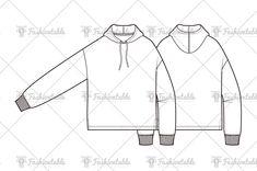 loose fit hood t-shirt fashion flat