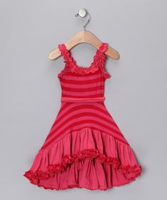 Save Now on this Hot Pink Stripe Ruffle Dress - Toddler & Girls by Mia Belle Baby on #zulily today!