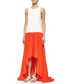 T9VBB Alexis Lauri Colorblock Pleated Maxi Dress